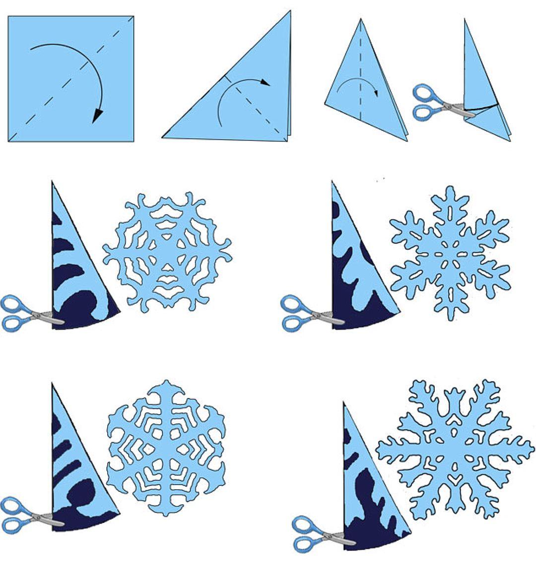 Как сделать снежинки из бумаги поэтапно для